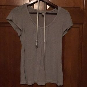 Silver grey scoop neck top w/ belt